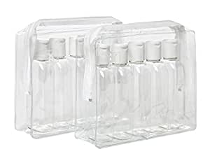 2 x HOLIDAY TRAVEL CLEAR PLASTIC BOTTLES PACKS - 10 x 100 ml BOTTLES & 2 x CLEAR BAGS
