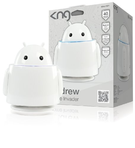 Konig Andrew Alien Robot MP3 Player with SD Card Connection and 2x 20W High Power Active Speakers - White