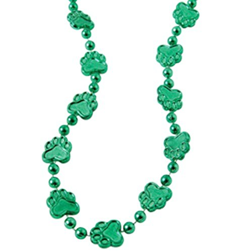 Dozen Green Metallic Paw Print Design Plastic Necklaces - 32""