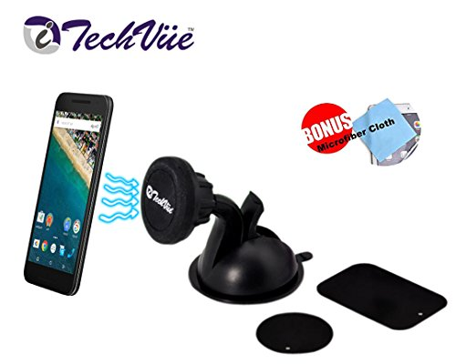 iTechVüe Magnetic Car Mount Universal Car Cell Phone Holder with Suction Cup, 360 Degree Rotating Magnetic Universal Phone Holder for Mighty Suction Gel Super Strong Suction Cup - Use for Samsung Galaxy S7 S6 Plus Edge S5 S4 S3, Note 4 3 2, iPhone 6 & iPhone 6 Plus iPhone SE 6 plus 5S 5C 4S, Nexus 6 5, HTC One & Many More + BONUS MICROFIBER CLEANING CLOTH.