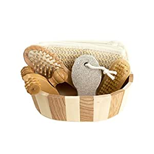Bath & Body Gift Set with 5 Relaxing & Care Tools in Wooden Basket for Vanity Day and Foot Spa. Cool Gadgets for Women Beauty and Rejuvenation. Enhance Your Bathing Experience Now!