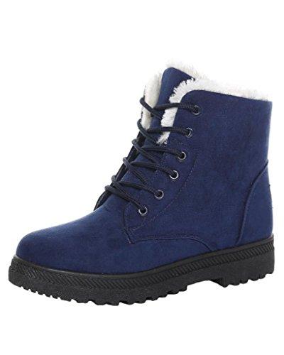 Minetom Donna Autunno Inverno Lace Up Pelliccia Neve Stivali Snow Boots Stivali Cavaliere Sneaker Moda Blu EU 40