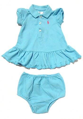 Ralph Lauren Infant Girl Dress Set Scalloped Ruffles (Pique Cotton) (3 Months, Turquoise Blue / Hot Pink Pony) front-981285