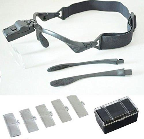 japanisu 拡大鏡 ルーペ メガネ タイプ  便利なLED ライト 付き 作業 工具 フィギア プラモデル コンサート オペラグラス にも 両手が自由になるハンドフリー セット k-mfi-500