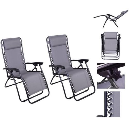 1 Pair Gray Color Recliner Lounge Chair Fully Reclined-63 Inches Long