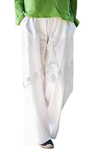 Enlishop Women's Casual Elastic Waist Wide Leg Loose Linen Palazzo Pants White