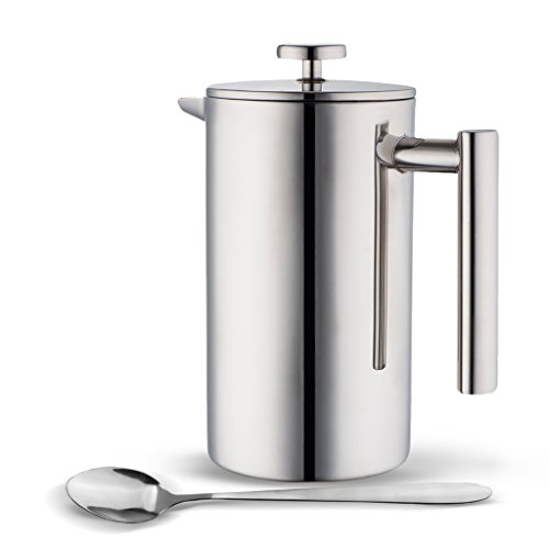 Cheap MIRA Stainless Steel French Press Coffee Tea Brewer Double Wall 1 Liter 34 Ounces with Bonus L...