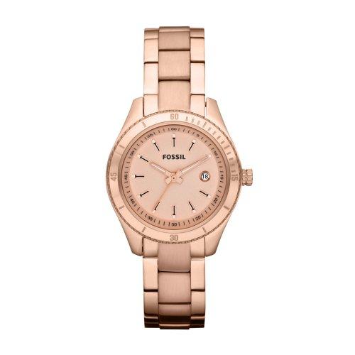Fossil Ladies Dress ES3019 - Reloj analógico de cuarzo para mujer, correa de acero inoxidable color dorado