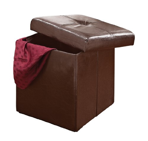 Kennedy Home Collection 15-Inch Fuax Leather Folding Ottoman, Chocolate