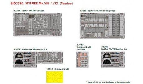 Supermarine Spitfire Mk.VIII (pour les maquettes Tamiya) ED32264 Spitfire Mk.VIII exterior ED32265 Spitfire Mk.VIII landing flap