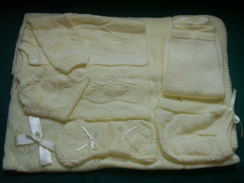 Ivory 6 Pc Knit Crochet Leaf Design Baby Set Blanket Pants Sweater Hat Booties front-958090