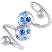 "14g 14 gauge (1.6mm), 1/2"" Inch 12mm long - Surgical Stainless Steel eyebrow navel bars bar ear tragus twist twister earring ring spiral barbell with tiff ball Swarovski Crystal Sapphire - Pierced Body Piercing Jewelry Jewellery - Set of 2 AMBG from bodyj"