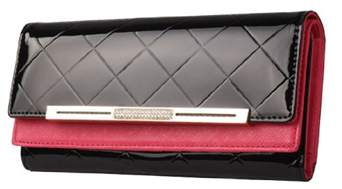 Heshe Women's Leather Long Clutch Purse Handbag Change Case with Checks Purse Double Layer Wallet 13 Credit Card Holder