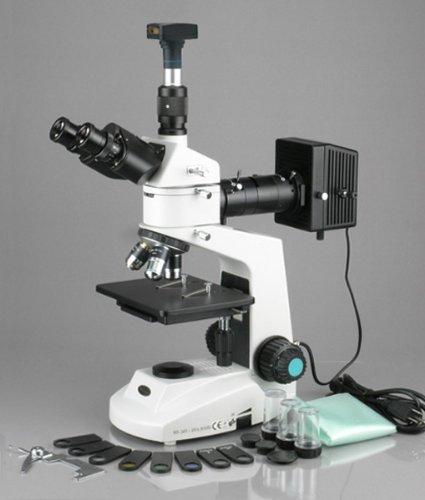 Amscope Me320T-Pz-3M Digital Polarizing Trinocular Metallurgical Microscope, Wf10X Eyepieces, 50X-500X Magnification, 30W Halogen Illumination With Rheostat, Double-Layer Mechanical Stage, Sliding Head, High-Resolution Optics, 90-240V, Includes 3Mp Camera