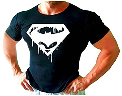SUPER MAN BATMAN BODYBUILDING T-Shirt BEST WORKOUT MEN CLOTHING S-XXL