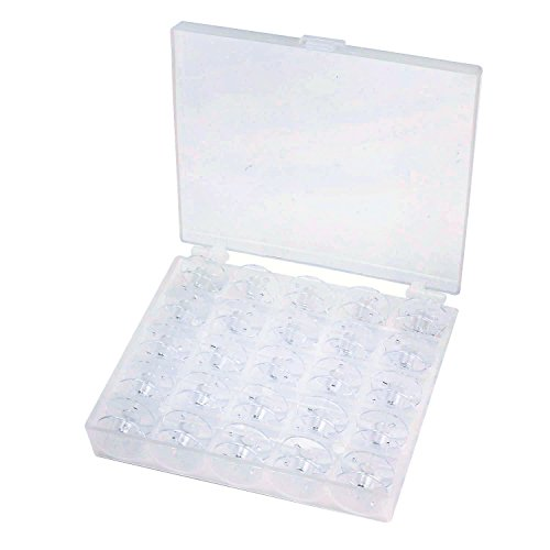 Segarty 25pcs Plastic Sewing Machine Bobbins Spools, Cotton Thread Spools with Bobbin Case Organizer for Brother Janome Kenmore Singer Elna, High Transparent (Bobbin Winder Brother compare prices)