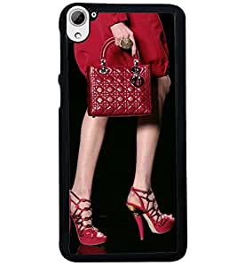 Printvisa Lady In Red With A Bag Back Case Cover for HTC Desire 826::HTC Desire 826 Dual