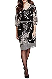 Per Una Monochrome Floral Dress [T62-6647J-S]