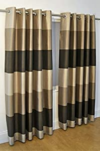 """Brazil Brown Beige Cream Striped Faux Silk Lined Ring Top 46"""" X 48"""" Curtains #oir from PCJ SUPPLIES"""