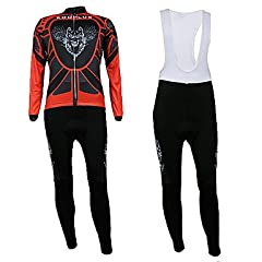 NEW-Kooplus- Mens Winter Long-Sleeve Fleece Cycling Suits with BIB Shorts (Red Flying... by ELCE Stock