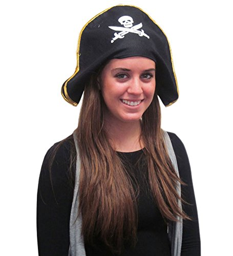 Felt Pirate Hat - Black Felt Hat With White Emblem For Pirate Costume Accessory