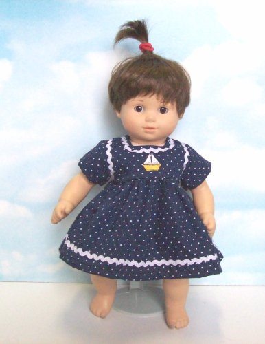 Navy Polka Dot Dress with Embroidered Sailboat. Fits 15