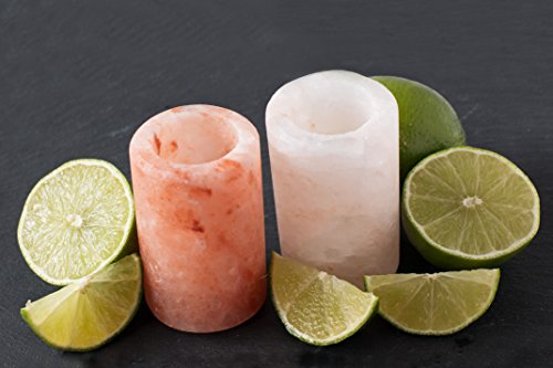 Tequila Shot Glasses, Pure Himalayan Pink Salt Shot Glasses (Set of 2) - 100% Food Grade Salt - by Cestari Kitchen