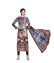 Multi Pashmina Embroidered Dress Material with lacework