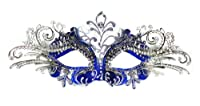 Venetian Blue Mask w/ Silver Metal Laser-cut and Crystals on Eyes from H-M SHOP