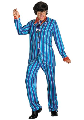 Disguise Mens Funny Austin Powers Carnaby Suit Deluxe Street Blue Costume