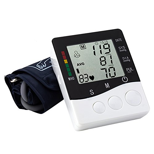 Professional Upper Arm Automatic Digital Blood Pressure Monitor Electronic Sphygmomanometer Irregular Heartbeat Detector Large LCD display Automatic Shut Down Function