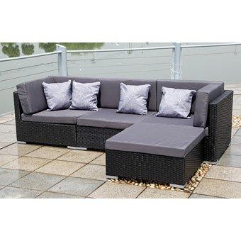 1 Gartenset Lounge Sitzgruppe Polyrattan Bergen Schwarz G Nstig Gartenm Bel Set