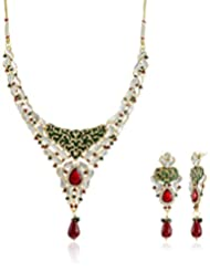 Sia Art Jewellery Enamel Jewellery Set For Women (Golden) (AZ2027)