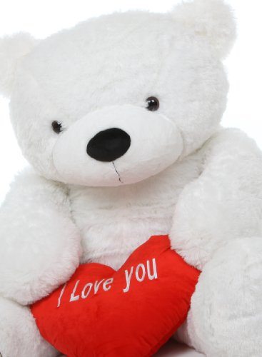 5 Foot Life Size Teddy Bear White Color Feather Soft Huge Plush Stuffed Animal Coco Cuddles front-788256