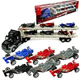SUPER FRICTION SEMI TRUCK MAXX LANE AUTO CARRIER WITH 6 EXTRA RACE CARS TOY FOR KIDS (COLORS MAY VAR
