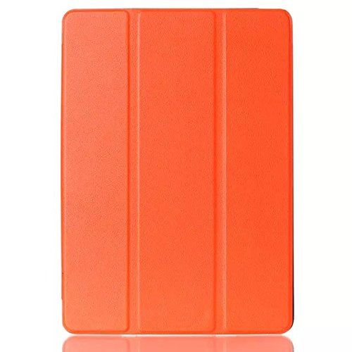 iPad Air 2 Case, 2 in 1 Combo Leather Case High Quality PU Leather and Premium Hard Plastic Interior Cover with Kickstand Ultra Slim Shell for Apple iPad Air 2 (Gift: 1x Stylus) (Orange)