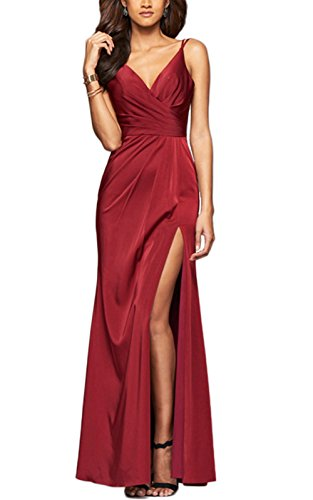 LaceLady Women's V Neck Prom Dress Spaghetti Strap Long Evening Gown with Slit Burgundy size 4