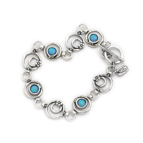 Casteliano - Bracelet 925 Handmade silver & hammered links Bracelet ,plain silver flower shape & opal stones 7.5