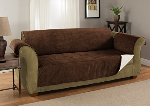 GPD (Sofa) Heavy-Weight Luxury Textured Microsuede Pebbles Furniture Protector and Slipcover with Anti-slip Non-slip Backing (Chocolate, XL Sofa)---Water-repellant