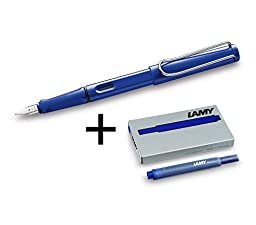 Lamy Safari Fountain Pen Set, Fine Nib + 6 Blue Ink Cartridges (Blue)