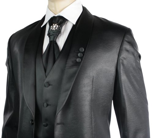 Mens Black Slim Fit Shiny Wedding Suit Slim Fit Lapels 4 Piece