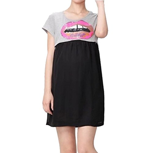 Maternity Nursing Women Chiffon Colorblock Short Sleeve Dress Size Xl