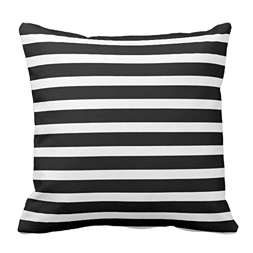 Modern Black And White Stripes Throw Pillow Case Soft Cotton Polyester Cushion Cover Home Sofa Decorative Squares (Twin Sides)