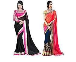 RockChin Fashions Black Plain and Orange Embroidered Georgette Saree