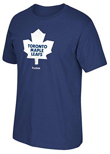 "Toronto Maple Leafs Reebok NHL ""Jersey Maglia Crest"" Men's Short Sleeve Blue T-shirt Camicia"