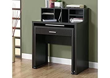 CAPPUCCINO HOLLOW-CORE SPACESAVER DESK WITH OPEN STORAGE (SIZE: 32L X 18W X 40H)