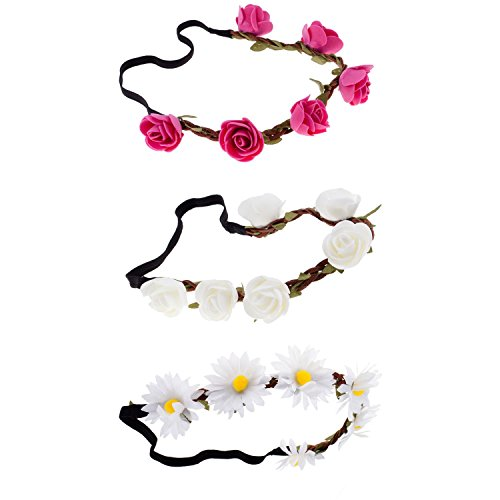 3 Hair / Head Bands / Headbands / Flowers Wreaths (Head Bun compare prices)