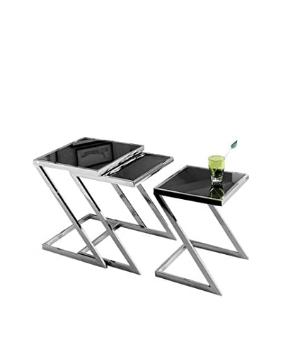 Armen Living Set of 3 Halo Nesting Tables, Black