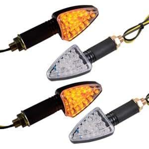 4 x Clignotant 18 LEDs MOTO 12V Ambre orange eclairage Feux Signal indicateur triangle