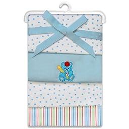 SpaSilk Kid\'s 4-Pack Flannel Receiving Blanket Set, Blue Bear